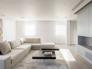 PENTHOUSE APARTMENT, CANARY WHARF Minimalist living room by Francesco Pierazzi Architects Minimalist