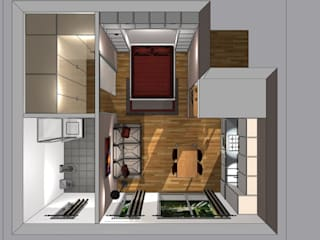 piantina 3d con letto aperto:  in stile  di Bludiprussia design