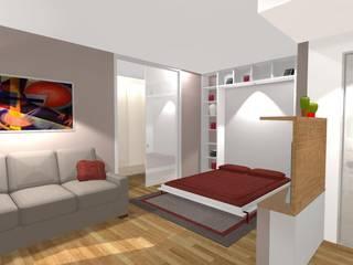 rendering parete libreria con  letto aperto: Soggiorno in stile  di Bludiprussia design