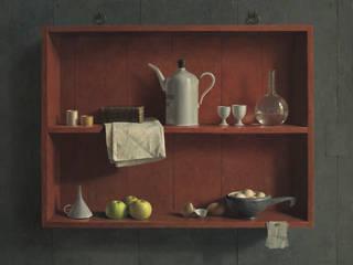 Stilleven in rode kast:   door Museum Helmantel