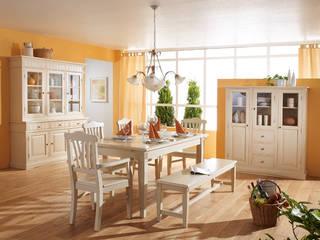 Highboard Landhausstil Lara Holz Massiv Fichte Weiß Gewischt von Möbel wohnbar Landhaus