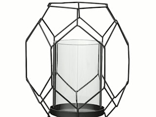 Bloomingville Design Kerzenhalter Schwarz Metall Glas 15,5x13,7xH17,2 von Die Tante Emma Skandinavisch