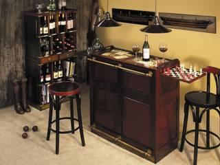 Casablanca-Bar mit verdeckten Rollen, Antikdesign, Rot, Glas Top, 2 ausziehbare Spielbretter, Messingbeschläge, H 110,5 x B 104 x T 52 cm von ProPassione GmbH Klassisch