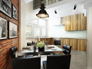 Industrial style kitchen by Дизайн студия Александра Скирды ВЕРСАЛЬПРОЕКТ Industrial