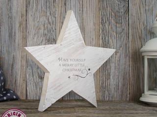 Schöner Holzstern Merry little christmas ca. 22cm:   von Elfenwinkel