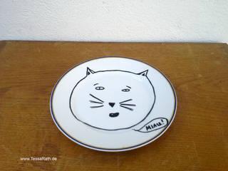 """Wandteller handbemalt """"miau"""":   von Tessa Rath Illustration"""