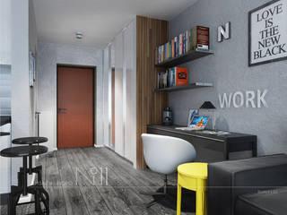 Loft для холостяка: Гостиная в . Автор – Дизайн-бюро № 11, Лофт