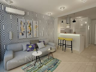 Квартира-студия в современном стиле: Гостиная в . Автор – Дизайн-бюро № 11, Эклектичный
