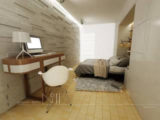 Квартира-студия в современном стиле: Спальни в . Автор – Дизайн-бюро № 11, Эклектичный