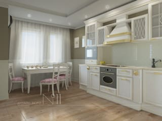 Квартира-гарсоньерка: Кухни в . Автор – Дизайн-бюро № 11, Эклектичный