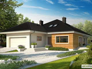PROJEKT DOMU LIV 3 G2 : styl , w kategorii Domy zaprojektowany przez Pracownia Projektowa ARCHIPELAG,Nowoczesny