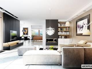 PROJEKT DOMU LIV 3 G2 : styl , w kategorii Salon zaprojektowany przez Pracownia Projektowa ARCHIPELAG,Nowoczesny