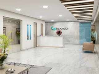 Reception Area Modern offices & stores by FUSSON STUDIO Modern