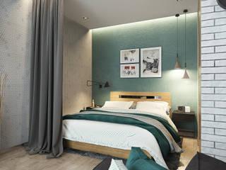 Квартира-студия для молодой пары Спальня в скандинавском стиле от Solo Design Studio Скандинавский
