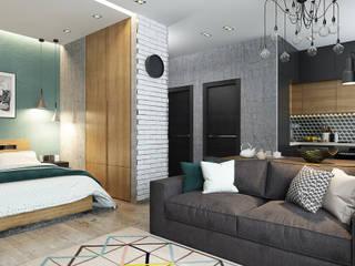 Квартира-студия для молодой пары: Гостиная в . Автор – Solo Design Studio, Скандинавский