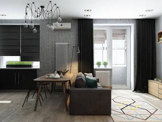 Квартира-студия для молодой пары Гостиная в скандинавском стиле от Solo Design Studio Скандинавский
