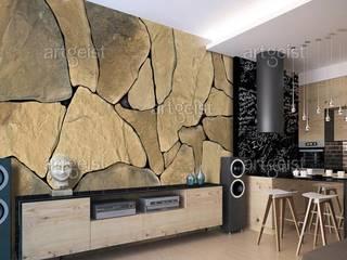 Carte da parati effetto pietra BIMAGO.it Sala da pranzoAccessori & Decorazioni Pietra Grigio