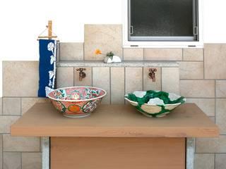 外部手洗い: アンドウ設計事務所が手掛けた浴室です。