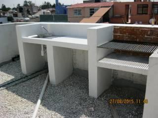 Fixing Balcone, Veranda & Terrazza in stile eclettico Laterizio Bianco