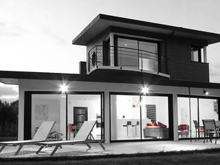 PROJET TABARY LE LAY Frédéric TABARY Balcon, Veranda & Terrasse modernes Métal Multicolore
