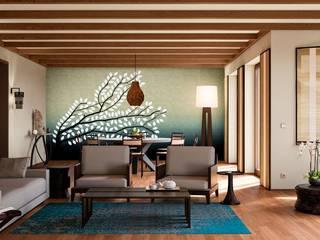 Salones de estilo tropical de makasa Tropical