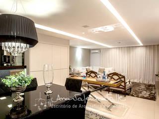 Projeto Anual Design - Apartamento Park Sul: Salas de jantar  por Ana Valeria Valle ,Moderno