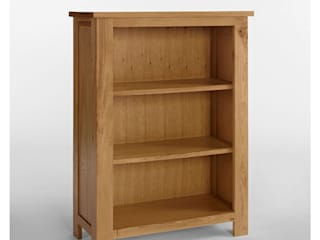 Bonsoni Ludlow Oak Bookcase With Two Shelves - Crafted from solid American Oak and carefully-selected Oak veneers:   by Bonsoni.com,