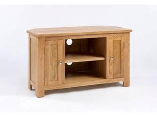 Bonsoni Ludlow Oak Corner TV/Video Unit - Crafted from solid American Oak and carefully-selected Oak veneers:   by Bonsoni.com,