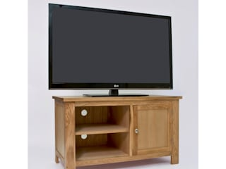 Bonsoni Ludlow Oak TV Stand With One Door - Crafted from solid American Oak and carefully-selected Oak veneers:   by Bonsoni.com,