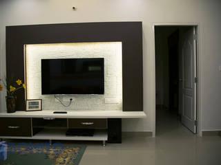 Living modular backlit TV unit design Asian style living room by homify Asian