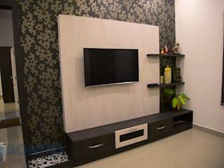 TV unit design with wallpaper and backpanel Asian style living room by homify Asian