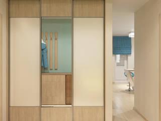 Студия дизайна Виктории Силаевой Couloir, entrée, escaliers minimalistes Turquoise