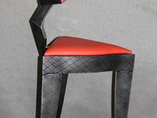 Tabouret cuir rouge par Alain Deschatres Moderne