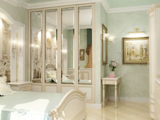 غرفة نوم تنفيذ СТУДИЯ ДИЗАЙНА ЭЛИТНЫХ ИНТЕРЬЕРОВ АЛЕКСАНДРА ЕЛАШИНА.