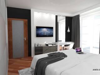 Sypialnia 17m2 Nowoczesna sypialnia od WNĘTRZNOŚCI Projektowanie wnętrz i mebli Nowoczesny