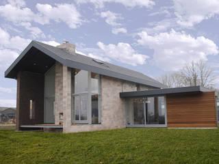 de woning opent zich naar het landschap:  Huizen door De Witte - Van der Heijden Architecten