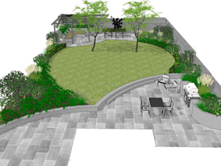 Stylish Landscape with Chill-Out Area Borrowed Space สวน คอนกรีต Grey