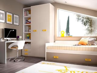 Dormitorio juvenil blanco y amarillo Dormitorios de estilo moderno de Casasola Decor Moderno