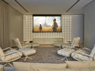 Nowoczesny pokój multimedialny od Alessandra Contigli Arquitetura e Interiores Nowoczesny