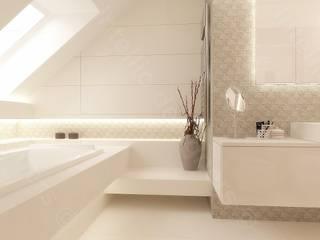 Luksusowa łazienka z dużą wanną od Intellio designers