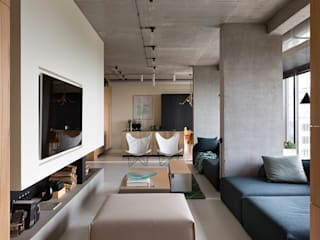 NPL. Penthouse: industrial Living room by Olga Akulova DESIGN