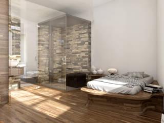 Stanza e Bagno - Melano - Svizzera Camera da letto minimalista di KRISZTINA HAROSI - ARCHITECTURAL RENDERING Minimalista