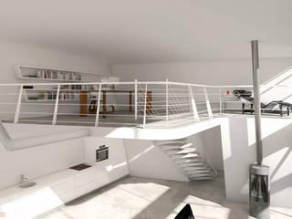 Greenhouse – Stabio – Svizzera Soggiorno minimalista di KRISZTINA HAROSI - ARCHITECTURAL RENDERING Minimalista