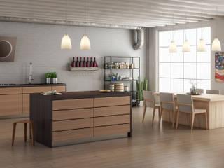 Simone Manna 3D 現代廚房設計點子、靈感&圖片 木頭 Wood effect