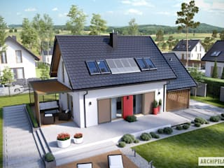 PROJEKT DOMU LEA II (z wiatą) Nowoczesne domy od Pracownia Projektowa ARCHIPELAG Nowoczesny