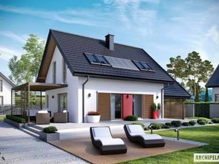 PROJEKT DOMU LEA II (z wiatą) : styl , w kategorii Domy zaprojektowany przez Pracownia Projektowa ARCHIPELAG,Nowoczesny