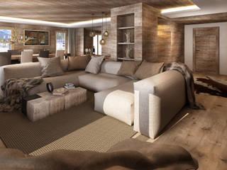rendering interni stile rurale: Soggiorno in stile  di Avogadri simone archi3d