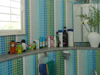 WASHROOM in Turquoise & Green VERVE GROUP Modern Bathroom Ceramic Blue