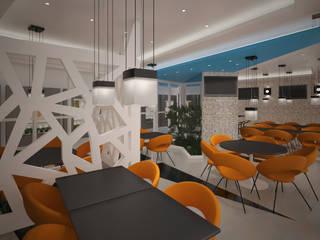 ENTREPRISE KNAUF :  UN PROJET ARCHITECTURAL HAUT EN COULEUR: Restaurants de style  par DEYDIER WILFRID ARCHITECTURE