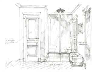 Квартира в ЖК «Московский». Коридор, прихожая и лестница в классическом стиле от Архитектурно-дизайнерская компания Сергея Саргина Классический